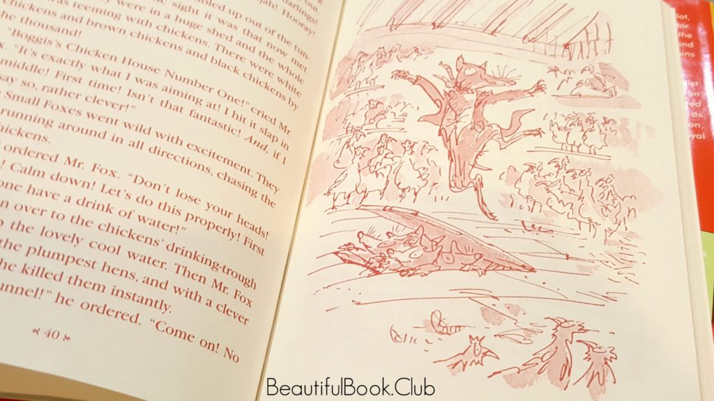 Fantastic Mr Fox Red text with Sketches