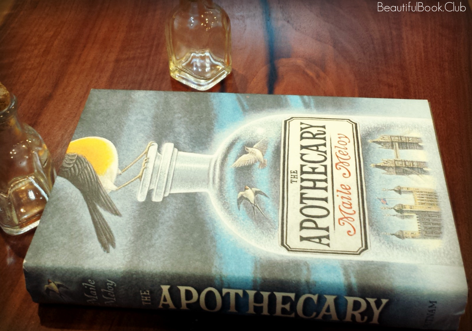 The Apothecary spine with book jacket and bottles