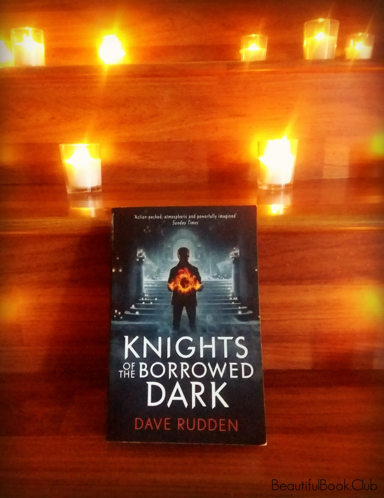 Knights of the Borrowed Dark by Dave Rudden front cover with candles