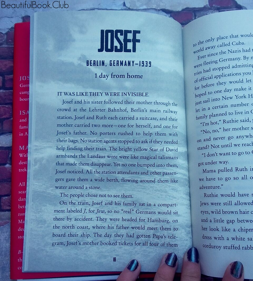 Refugee by Alan Gratz page 18 Josef 1 day from home