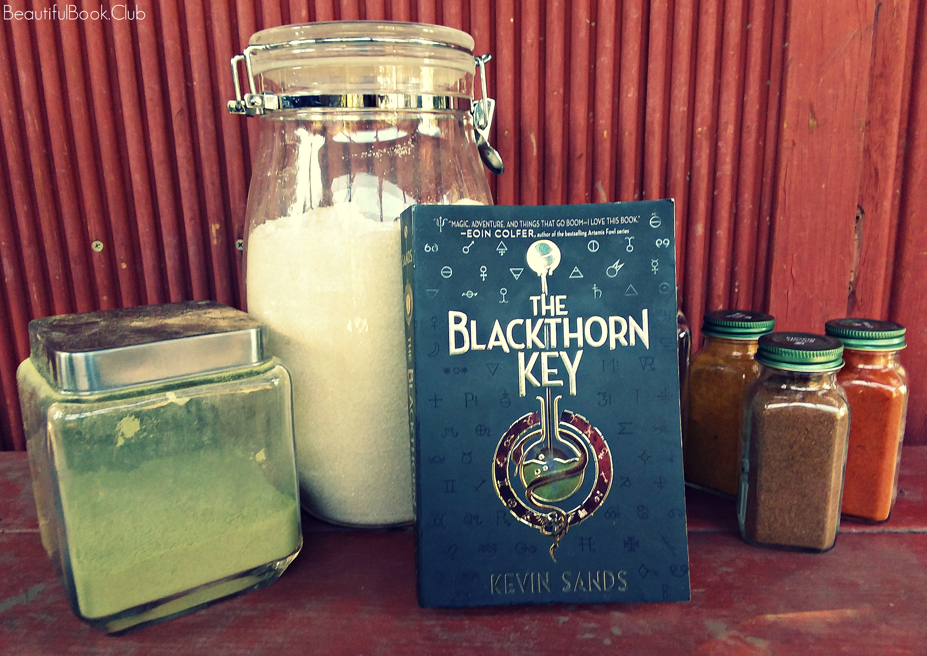 The Blackthorn Key by Kevin Sands front cover with jars