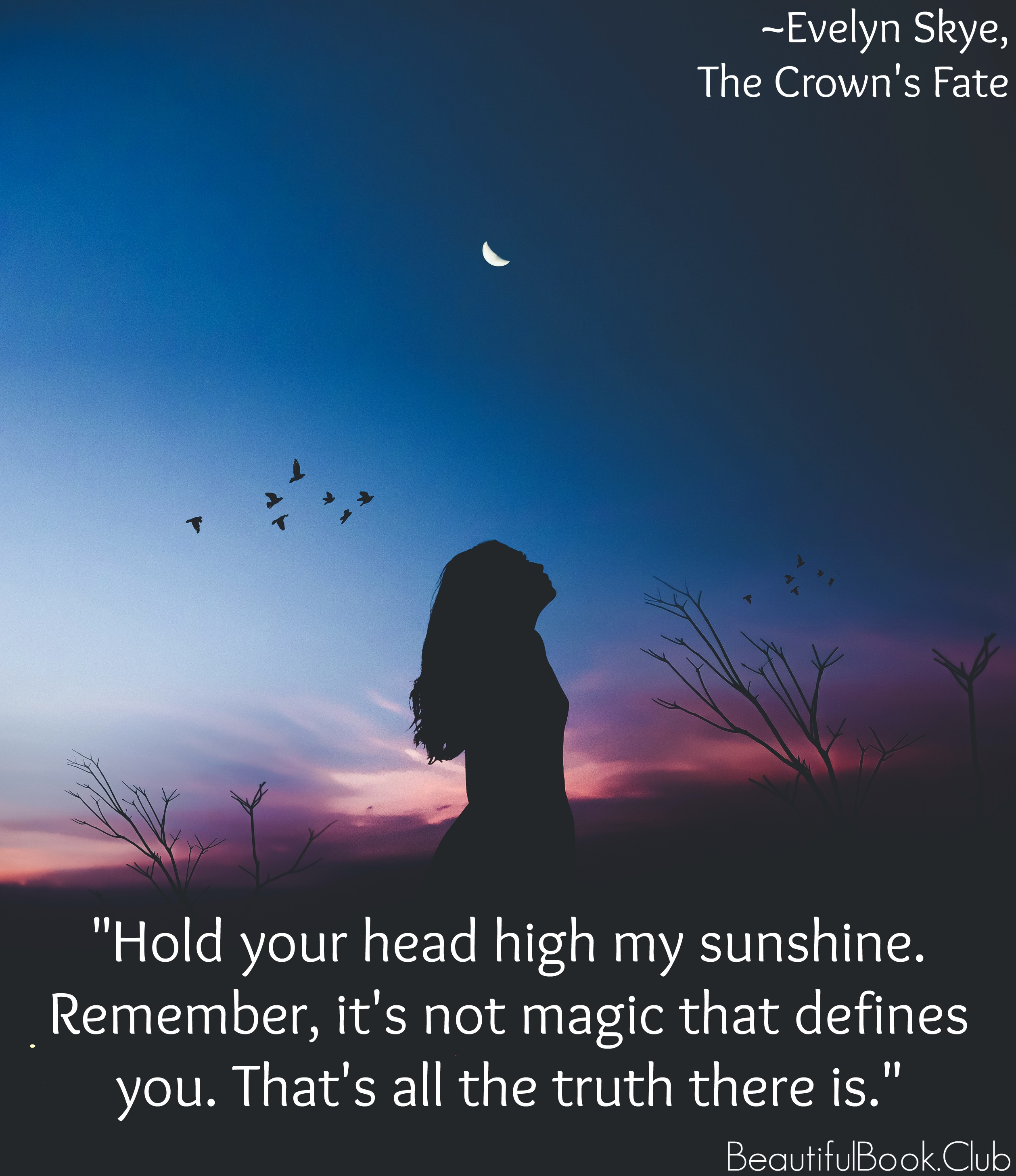 The Crown's Fate by Evelyn Skye quote Hold your head high my sunshine. Remember, it's not magic that defines you. That's all the