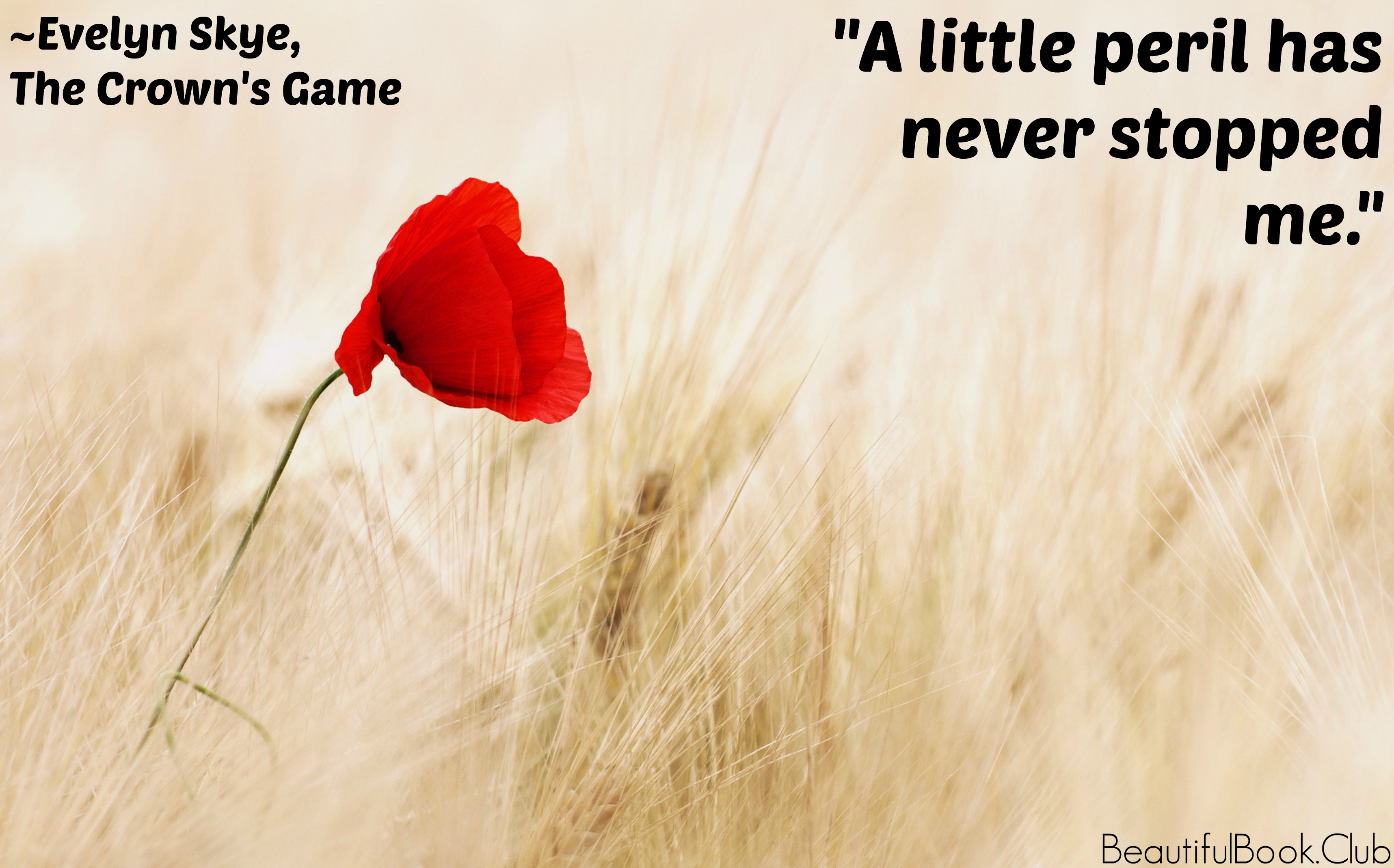 The Crown's Game by Evelyn Skye quote A little peril has never stopped me.""