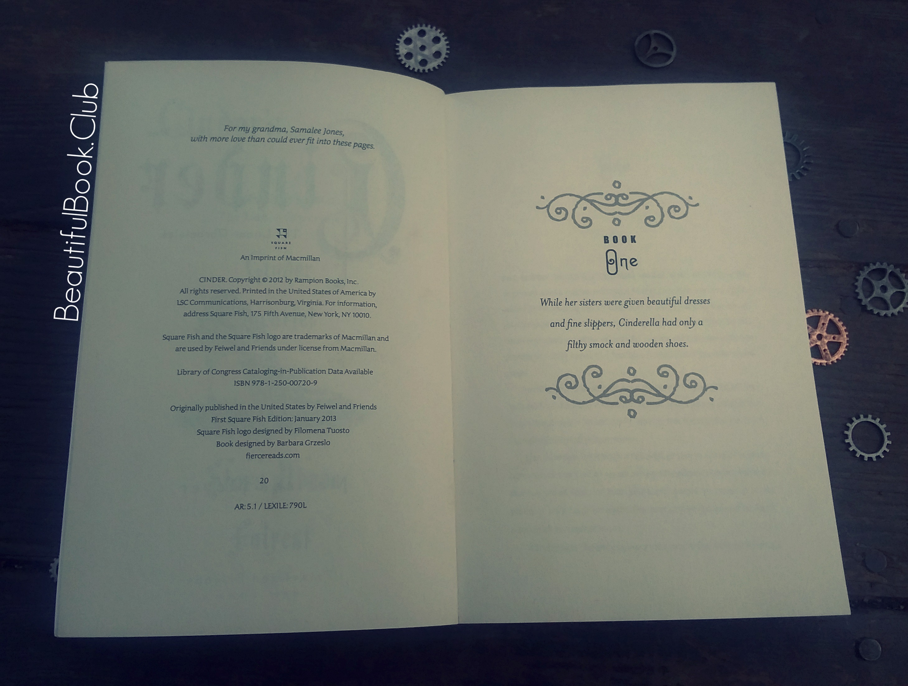 Cinder by Marissa Meyer book one page