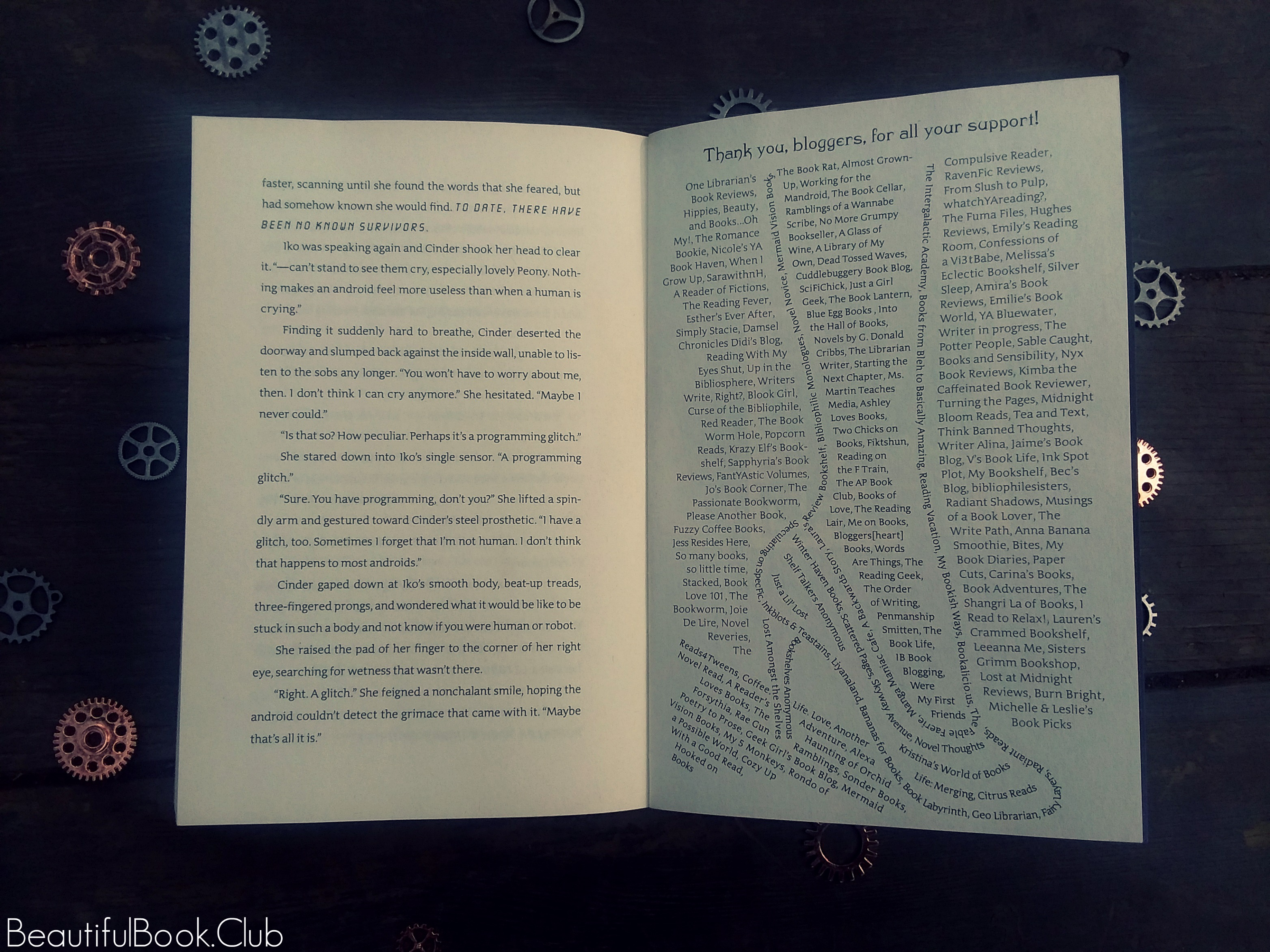 Cinder by Marissa Meyer cool thank you page in the shape of a foot